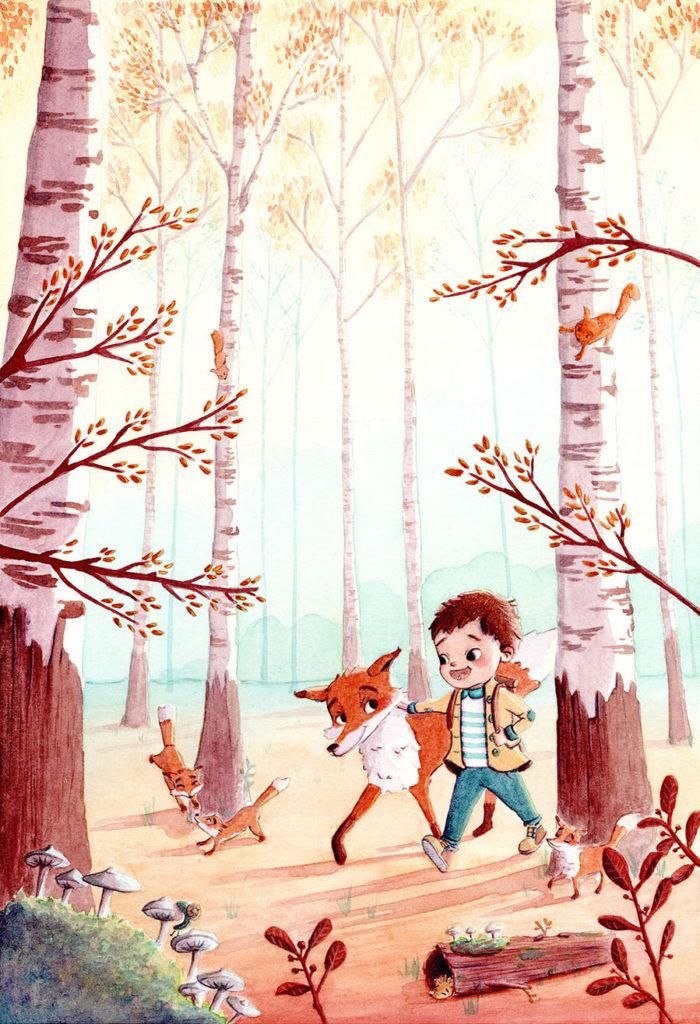 Commande personnalisée d'une illustration à l'aquarelle. Un petit garçon se promène en forêt accompagné de ses amis les renards!