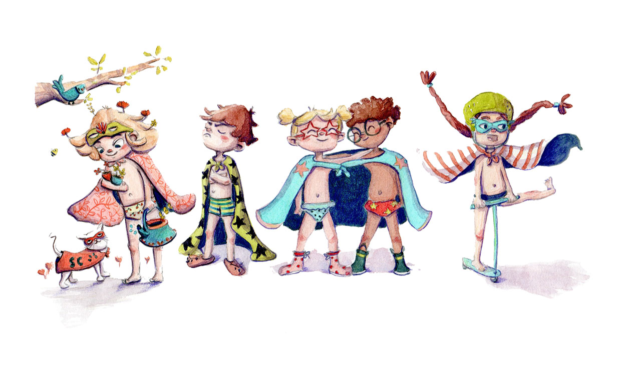 Illustration d'une bande d'enfants super-héros en slips prêt à sauver le monde et surtout à s'amuser, illustration aquarelle.