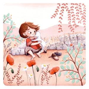 Illustration d'une petite fille qui fait un gros câlin à son chat. Illustration pour le livre auto-éditée Ce que J'aime moi.